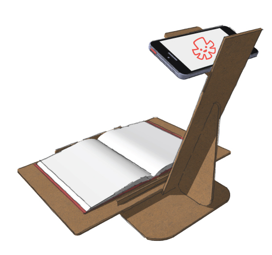 image of a mobile phone with our application on a custom stand for our books